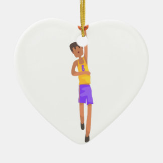 Ornamento De Cerâmica Jogador de basquetebol com a etiqueta da ação da