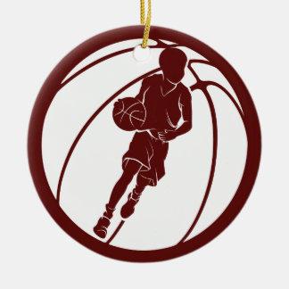 Ornamento De Cerâmica Jogador de basquetebol do menino que pinga
