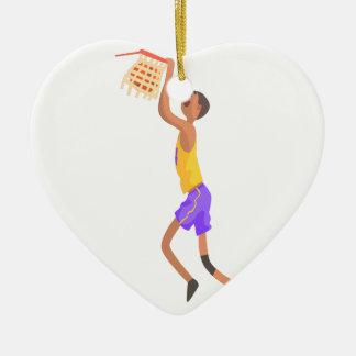 Ornamento De Cerâmica Jogador de basquetebol que pendura na etiqueta da