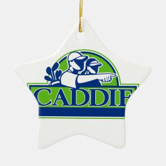 Ornamento De Cerâmica Jogador de golfe profissional e Caddie retros