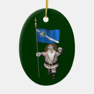 Ornamento De Cerâmica Jogador Papai Noel com a bandeira de Las Vegas
