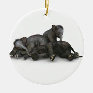 Ornamento De Cerâmica jogo pequeno bonito dos elefantes do bebê