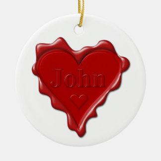Ornamento De Cerâmica John. Selo vermelho da cera do coração com John