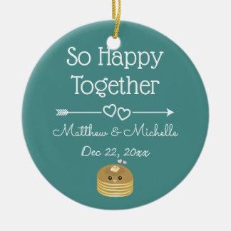 Ornamento De Cerâmica Junto Sr. tão feliz Sra. Primeiro Natal Lembrança