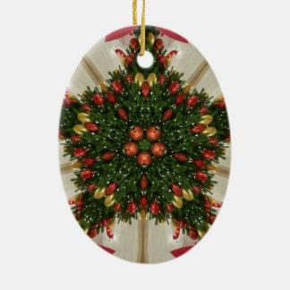 Ornamento De Cerâmica Kaleidoscopic verde vermelho da grinalda elegante