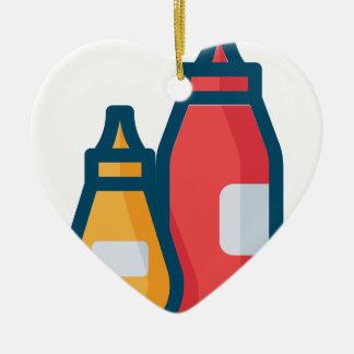 Ornamento De Cerâmica Ketchup e mostarda
