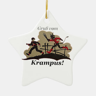 Ornamento De Cerâmica Krampus persegue o miúdo