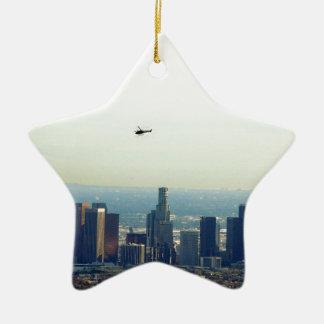 Ornamento De Cerâmica LA e helicóptero