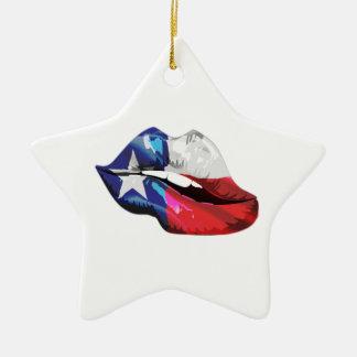 Ornamento De Cerâmica Lábios da bandeira de Texas