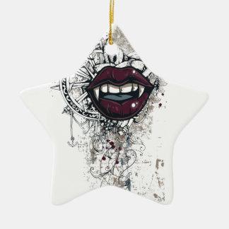 Ornamento De Cerâmica lábios de dracula do vintage