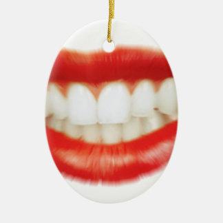Ornamento De Cerâmica Lábios vermelhos