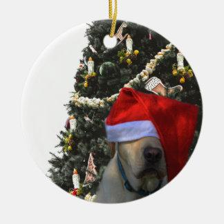 Ornamento De Cerâmica Labrador amarelo dourado no Natal do chapéu do