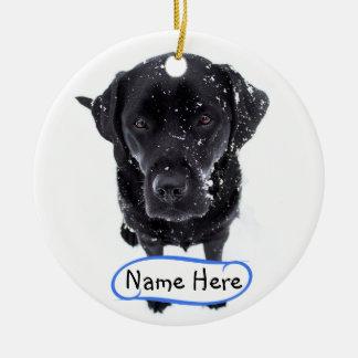 Ornamento De Cerâmica Labrador preto - cão da neve
