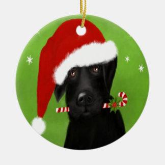 Ornamento De Cerâmica Labrador preto - cão engraçado do Natal