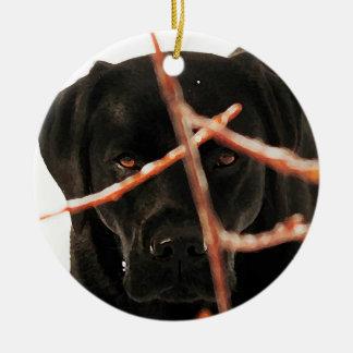 Ornamento De Cerâmica Labrador preto - espreitando ramos