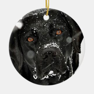 Ornamento De Cerâmica Labrador preto - globo da neve