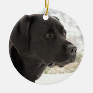 Ornamento De Cerâmica Labrador preto - olhando vistas