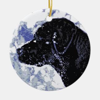 Ornamento De Cerâmica Labrador preto - país das maravilhas do inverno