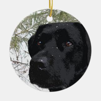 Ornamento De Cerâmica Labrador preto - pinhos Sparkling