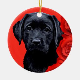 Ornamento De Cerâmica Labrador preto - rosas dos namorados