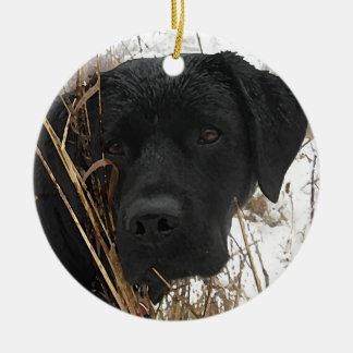 Ornamento De Cerâmica Labrador preto - tarde - caça da estação