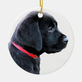Ornamento De Cerâmica Labrador preto - vestido no vermelho