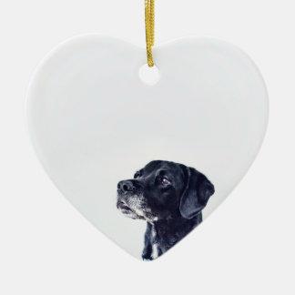 Ornamento De Cerâmica Labrador retriever preto customizável
