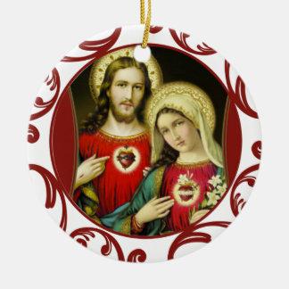 Ornamento De Cerâmica Laço imaculado sagrado do vermelho de Mary do