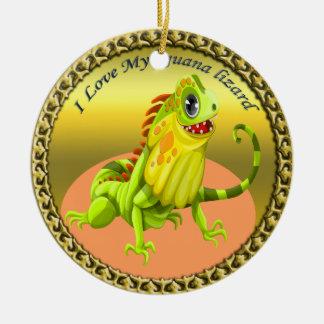 Ornamento De Cerâmica Lagarto feliz da iguana da natureza do verde