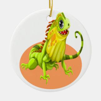 Ornamento De Cerâmica Lagarto feliz verde adorável da iguana da natureza