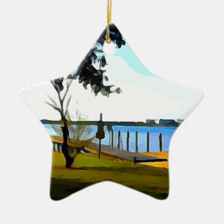 Ornamento De Cerâmica Lago Baldwin dock do barco