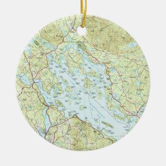 Ornamento De Cerâmica Lago Winnipesaukee Mapa (1986)