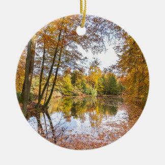 Ornamento De Cerâmica Lagoa da floresta coberta com as folhas na estação
