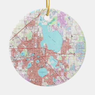 Ornamento De Cerâmica Lakeland Florida Mapa (1975)