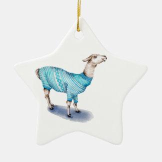Ornamento De Cerâmica Lama da aguarela na camisola azul