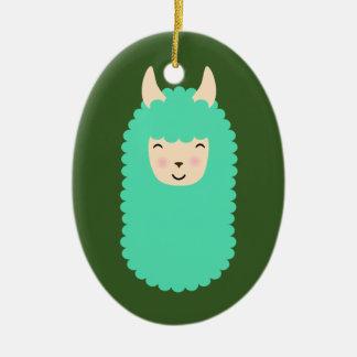Ornamento De Cerâmica Lama feliz Emoji