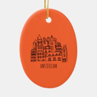 Ornamento De Cerâmica Laranja holandesa da lembrança da cidade de
