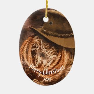 Ornamento De Cerâmica Lariat ocidental do chapéu de vaqueiro do Natal