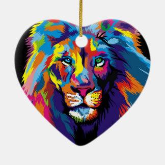 Ornamento De Cerâmica Leão colorido