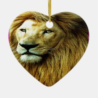 Ornamento De Cerâmica Leão com beira do arco-íris