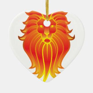 Ornamento De Cerâmica Leão customizável do zodíaco de Leo do fogo