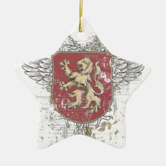 Ornamento De Cerâmica leão da coroa e a marca