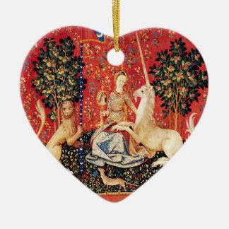 Ornamento De Cerâmica Leão da SENHORA E do UNICÓRNIO, flores da