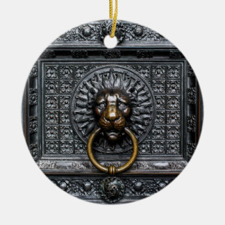 Ornamento De Cerâmica Leão de Doorknocker - preto/ouro