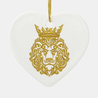 Ornamento De Cerâmica leão dourado na coroa