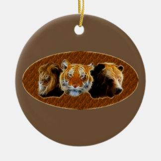 Ornamento De Cerâmica Leão e tigre e urso