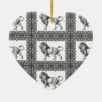 Ornamento De Cerâmica leão encaixotado em um quadro