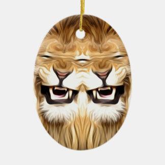 Ornamento De Cerâmica Leão feliz Trippy