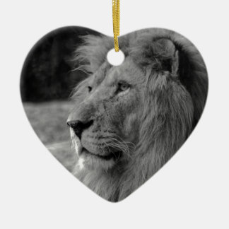 Ornamento De Cerâmica Leão preto & branco - animal selvagem