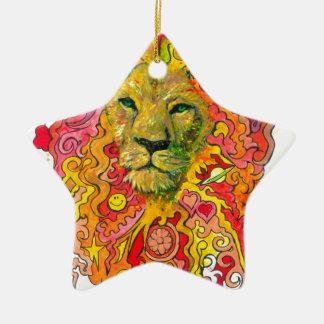 Ornamento De Cerâmica Leão psicadélico